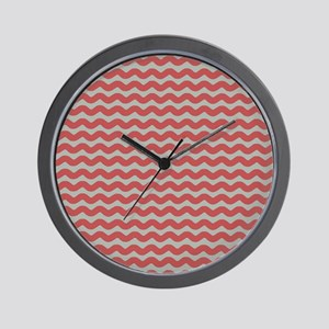 Red and Gray Wave Wall Clock