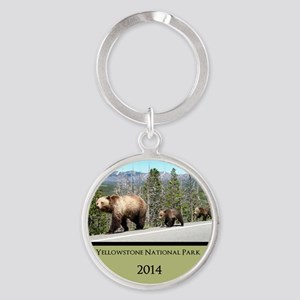 Customized Grizzly Bears in Yellows Round Keychain