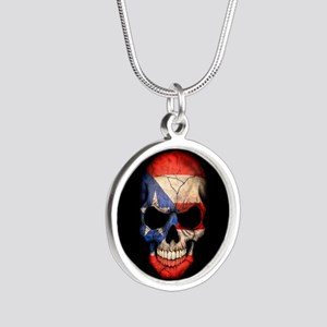 Puerto Rico Flag Skull on Black Necklaces