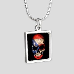 Puerto Rico Flag Skull on Black Necklaces