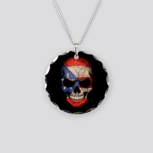 Puerto Rico Flag Skull on Black Necklace Circle Ch