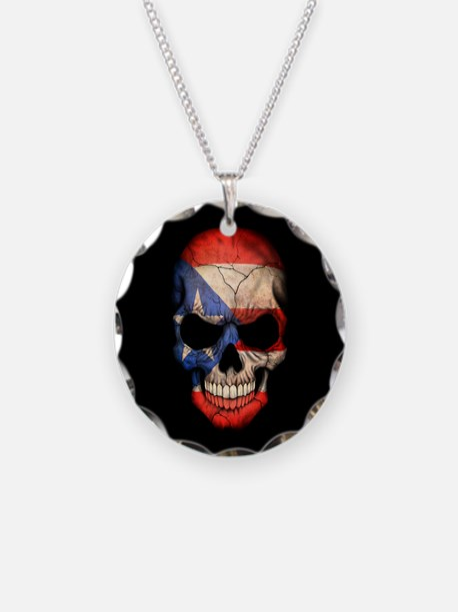 Puerto Rico Flag Skull on Black Necklace