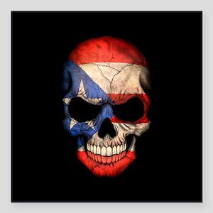Puerto Rico Flag Skull on Black Square Car Magnet