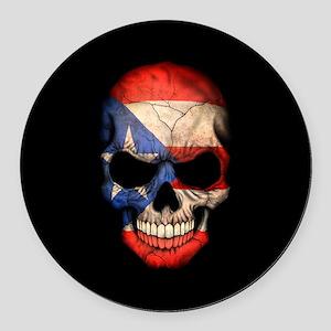 Puerto Rico Flag Skull on Black Round Car Magnet