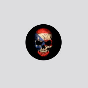 Puerto Rico Flag Skull on Black Mini Button