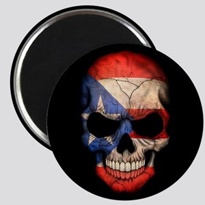 Puerto Rico Flag Skull on Black Magnets