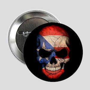 "Puerto Rico Flag Skull on Black 2.25"" Button"