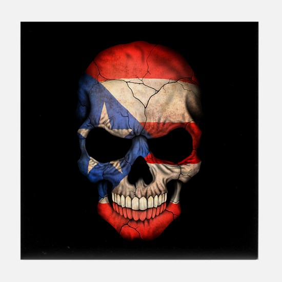 Puerto Rico Flag Skull on Black Tile Coaster