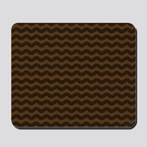 Chocolate Brown Wave Pattern Mousepad