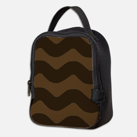 Chocolate Brown Wave Pattern Neoprene Lunch Bag