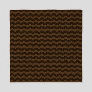 Chocolate Brown Wave Pattern Queen Duvet