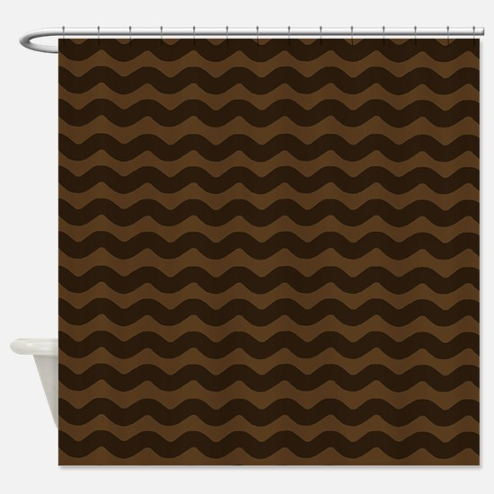 Chocolate Brown Wave Pattern Shower Curtain