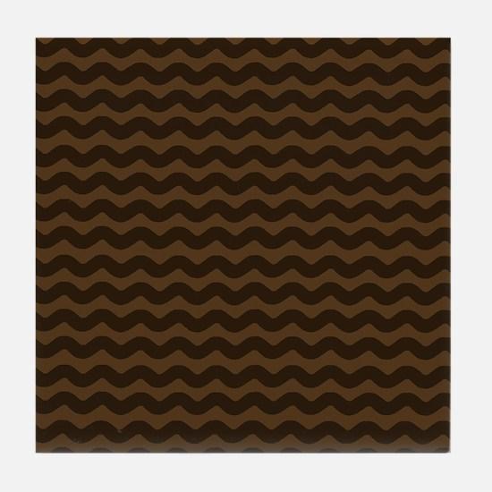 Chocolate Brown Wave Pattern Tile Coaster
