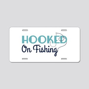 HOOKED On Fishing Aluminum License Plate