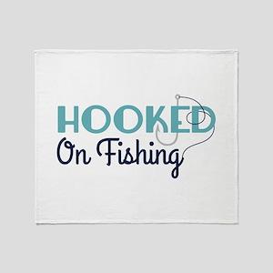 HOOKED On Fishing Throw Blanket