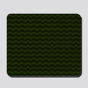 Dark Green Chevron Waves Mousepad