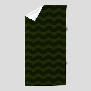 Dark Green Chevron Waves Beach Towel