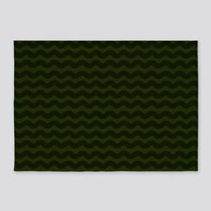 Dark Green Chevron Waves 5'x7'Area Rug