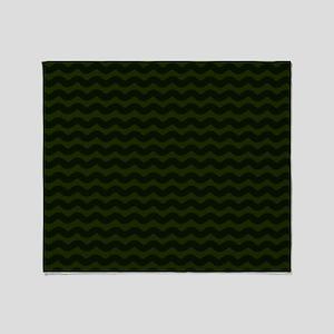 Dark Green Chevron Waves Throw Blanket