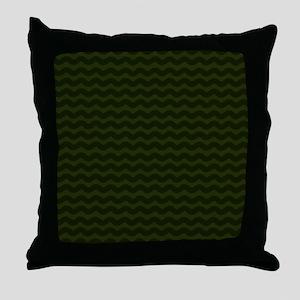 Dark Green Chevron Waves Throw Pillow