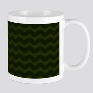 Dark Green Chevron Waves Mugs