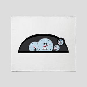 Race Car Dashboard Throw Blanket