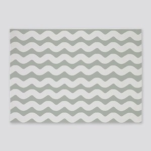 Gray Wave Patterned 5'x7'Area Rug