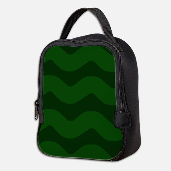Forest Green Wavy Chevron Neoprene Lunch Bag