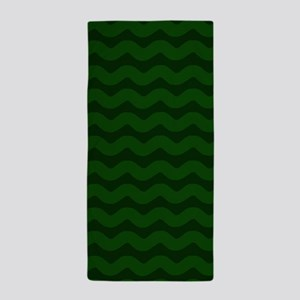 Forest Green Wavy Chevron Beach Towel