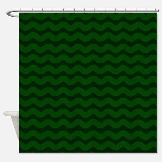 Forest Green Wavy Chevron Shower Curtain