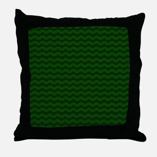 Forest Green Wavy Chevron Throw Pillow