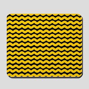 Yellow and Black Wavy Chevron Mousepad