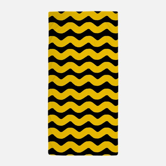 Yellow and Black Wavy Chevron Beach Towel