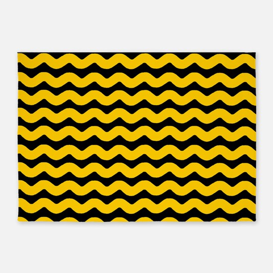 Yellow and Black Wavy Chevron 5'x7'Area Rug