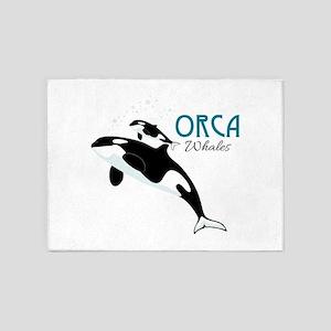 Orca Whales 5'x7'Area Rug