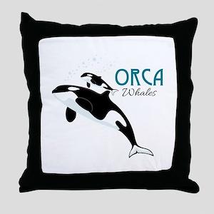 Orca Whales Throw Pillow