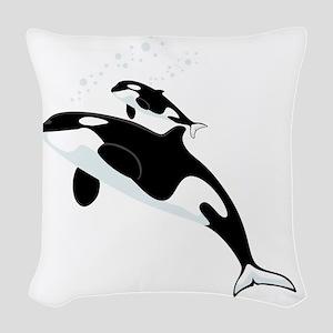 Killer Orca Whales Woven Throw Pillow