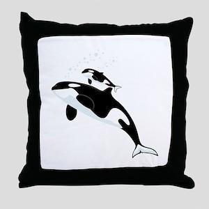 Killer Orca Whales Throw Pillow