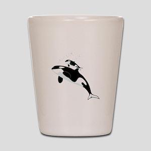 Killer Orca Whales Shot Glass