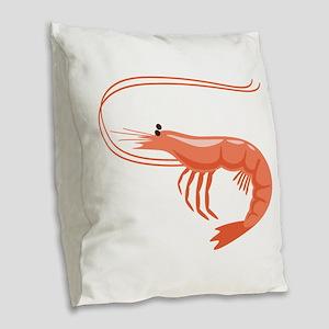 Prawn Shrimp Burlap Throw Pillow