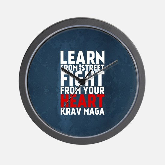 Learn from the street Krav Maga RED Wall Clock