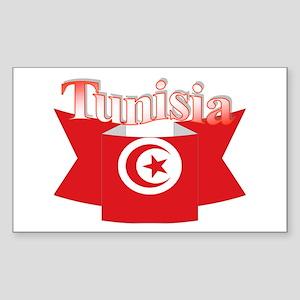 Flag ribbon Tunisia Rectangle Sticker