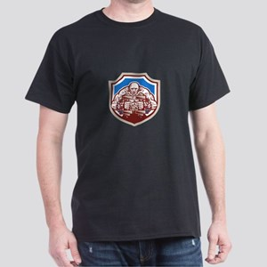 Strongman Lifting Dumbbells Shield Retro T-Shirt
