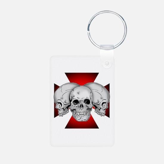 Tri Skull Iron Cross Keychains