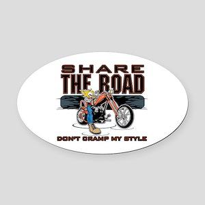 Share the Road Biker Oval Car Magnet