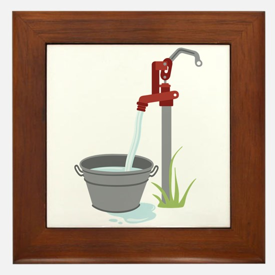 Well Water Hand Pump Framed Tile
