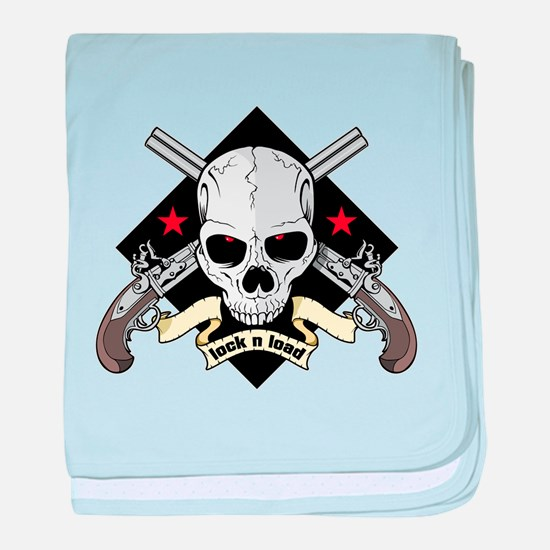 Lock and Load Skull and Guns baby blanket