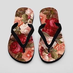 Floral Pink Roses Flip Flops