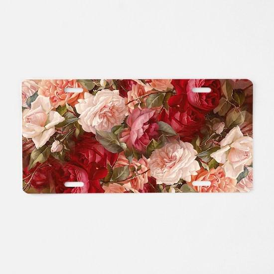 Floral Pink Roses Aluminum License Plate