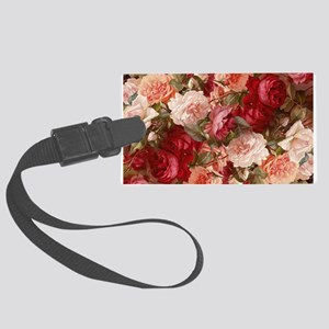 Floral Pink Roses Luggage Tag